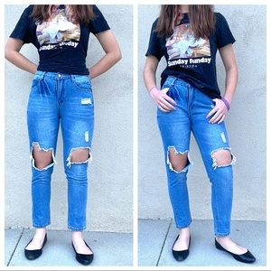 SHEIN High Waisted Ripped Boyfriend MOM jeans blue